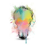 Colored energy. Light bulb with colors  and abstract form Stock Photos