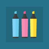Colored engineering office marker vector illustration simple equipment school supplies subject secretarial tools pastel. Vertical color education sign. Hand Stock Photography