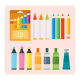 Colored engineering paints and pencils vector illustration simple equipment school supplies subject secretarial tools Stock Photo
