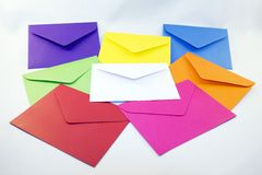 Colored Envelopes. Several different colored envelopes, ready for a card or letter. Photographed on a white fabric background