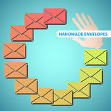 Colored envelopes. Colored handmade envelopes in flat design style Royalty Free Stock Images