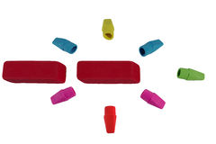 Colored erasers Stock Photo