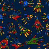 Colored ethnic hand seamless pattern Royalty Free Stock Photos
