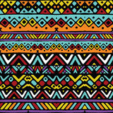 Colored ethnic mexican tribal stripes seamless pattern Stock Images