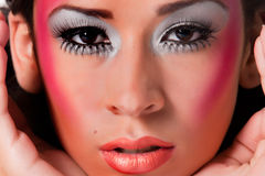 Colored extreme make-up mixed race girly girl Stock Photo
