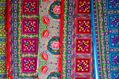 Colored fabric. Bright and vibrant colored fabric as seen on a oriental market Stock Photos