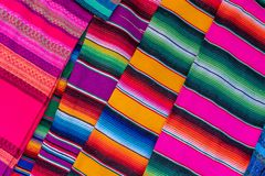 Colored fabric from peru. Colored fabric as seen om the markets of peru and south america. The colors are vibrant and typical for this type of cloth royalty free stock photography