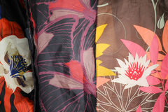 Colored fabrics. As a background Royalty Free Stock Images