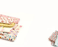 Colored fabrics for crafts, art projects. Materials for creativity, a bright cloth, the tape, scissors. White background. Everything for handmade Royalty Free Stock Image