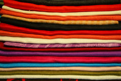 Colored fabrics. Fabrics of different colors presented Royalty Free Stock Photo