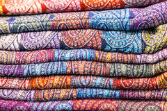Colored fabrics in the Indian market Stock Photo