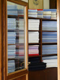 Colored fabrics in the tailor shop Stock Image