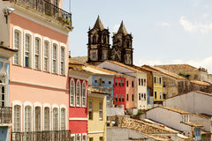 Colored facades in el pelourinho de salvador Royalty Free Stock Photography