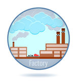 Colored factory in a circle frame. Stock Image