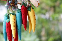 Colored fake decorative peppers Royalty Free Stock Image
