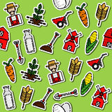 Colored farm pattern. Farm pattern with buildings trees animals products and characters in color vector illustration Stock Photography
