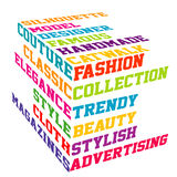 Colored Fashion cube typography terms Royalty Free Stock Photos