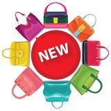 Colored fashion women's handbag.Circle composition Royalty Free Stock Images