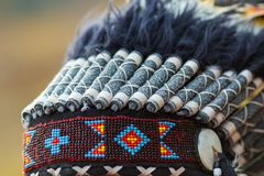 Colored feathers from a native american headdress.  stock photo