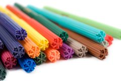 Colored felt tip pens on white. Colored felt tip pens in a row on white background stock photo