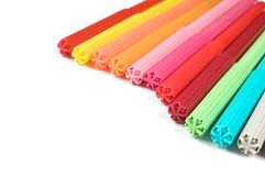 Colored felt tip pens on white. Colored felt tip pens in a row on white background stock images