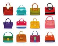Colored female handbags set.Fashion Illustration Stock Image