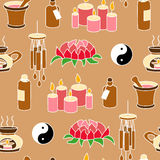 Colored Feng Shui seamless pattern. In simple style Stock Photo