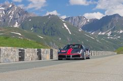 Colored Ferrari take part in the CAVALCADE 2018 event along the roads of Italy, France and Switzerland around MONTE BIANCO stock photos