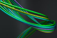 Colored fibre wires cables. 3d rendering stock illustration