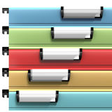 Colored files with copy space available on blank stamps Stock Image