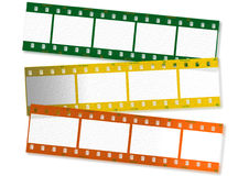 Colored film strips. Computer generated colored film strips stock illustration