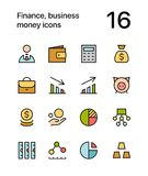 Colored Finance, business, money icons for web and mobile design pack 1. Colorful flat vector outline icons Royalty Free Stock Photos