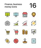 Colored Finance, business, money icons for web and mobile design pack 4. Colorful flat vector outline icons Stock Image