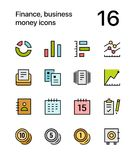 Colored Finance, business, money icons for web and mobile design pack 2. Colorful flat vector outline icons Royalty Free Stock Photography