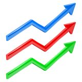 Colored financial up moving arrows. Rising trend. Vector 3d illustration Stock Photography