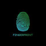 Colored fingerprint icon identification. Security and surveillance system. Colored fingerprint icon identification isolated on black background. Security and Stock Photography