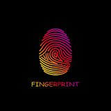 Colored fingerprint icon identification. Security and surveillance system. Colored fingerprint icon identification isolated on black background. Security and Stock Photos
