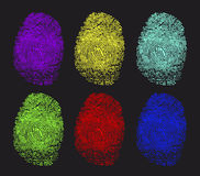 Colored fingerprints. On a white background Stock Photo