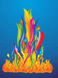 Colored fire and flames Stock Images