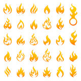Colored Fire and Flames vector icon set Stock Images