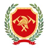 Colored Fire Heraldry. Fire helmet, shield, olive branches, axes. Fire Heraldry. Fire helmet and axes on the background of the red coat of arms. Around laurel Stock Image
