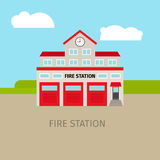 Colored fire station building Stock Image