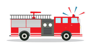 Colored Fire Truck with Siren Flat Design. Vector Illustration. Royalty Free Stock Photos