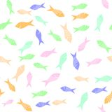Colored Fish Silhouettes Seamless Pattern. On White Background Royalty Free Stock Photography