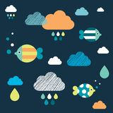 Colored fishes and clouds. Kids wall paper pattern. Vector illustration stock illustration