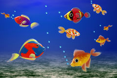 Colored fishes. Royalty Free Stock Image