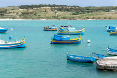 Colored fishing boats in Malta horizontal Royalty Free Stock Photography