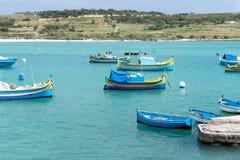 Colored fishing boats in Malta horizontal. Colored fishing boats in Malta Royalty Free Stock Photography