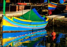 Colored fishing boats, Malta Royalty Free Stock Images