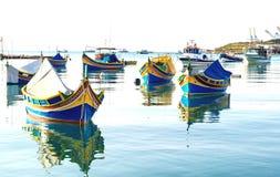 Colored fishing boats, Malta. Colored Fishing boats in  Marsaxlokk harbor, Malta Stock Images